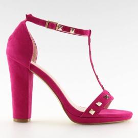 Sandałki na słupku fuksjowe A03 fuchsia różowe