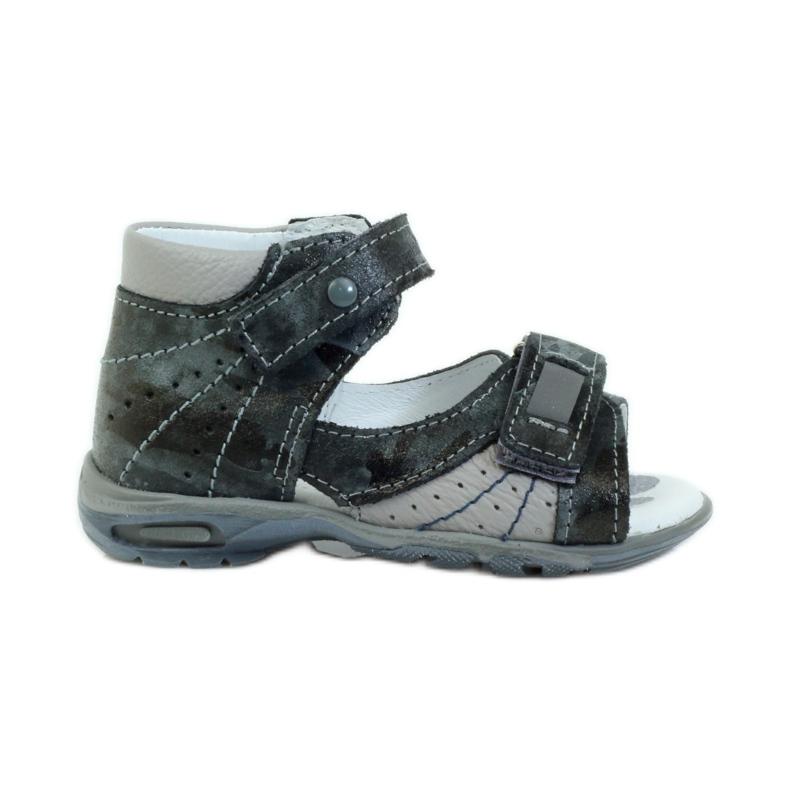Sandałki na rzepy z odblaskiem Ren But 1407 wielokolorowe szare