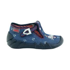 Granatowe Befado obuwie dziecięce kapcie 110p311