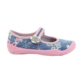 Befado obuwie dziecięce kapcie balerinki 114x280 różowe szare niebieskie