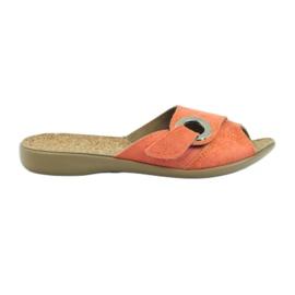 Pomarańczowe Kapcie klapki na rzep Befado 265d006
