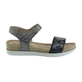 Szare Sandały komfortowe INBLU srebrno-grafitowe