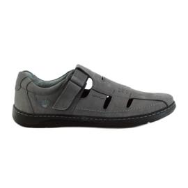 Szare Riko buty męskie sandały dziurkowane 851