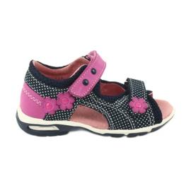 Sandałki na rzepy Ren But granatowe różowe