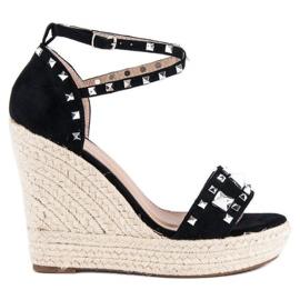 Bestelle Rockowe sandały espadryle czarne