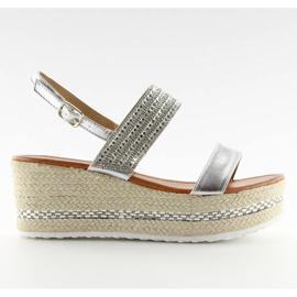 Sandałki espadryle na koturnie srebrne GG-5 szare