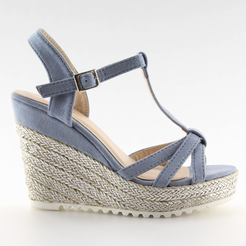 Sandałki espadryle na koturnie niebieskie 680-30 Blue