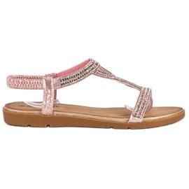 Fama Płaskie sandały z cyrkoniami różowe