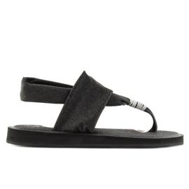 Sandałki japonki bawełniane czarne DD81P