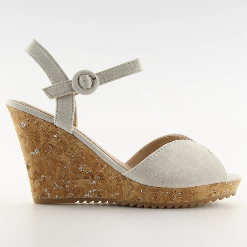 Sandałki na korkowym koturnie szare 3811
