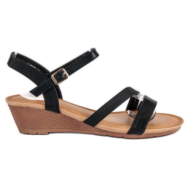 Bello Star Wygodne sandały na koturnie czarne