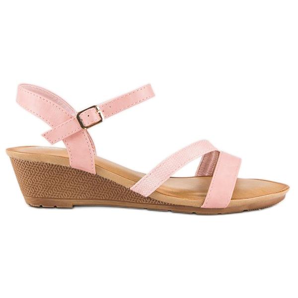 Bello Star Wygodne sandały na koturnie różowe