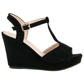 Bella Star Zamszowe sandały na koturnie czarne