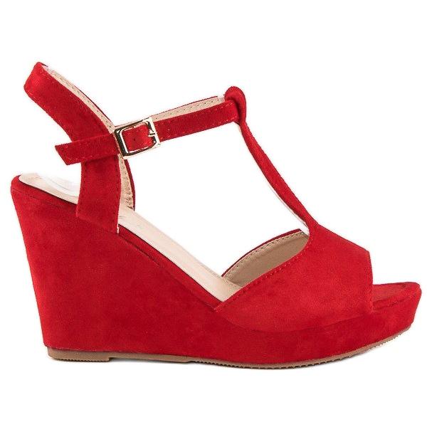 Bella Star Zamszowe sandały na koturnie czerwone