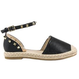 Rockowe sandały espadryle czarne