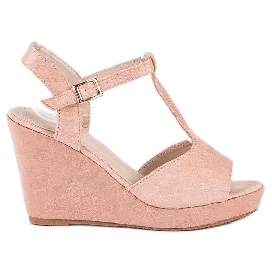 Bella Star Zamszowe sandały na koturnie różowe