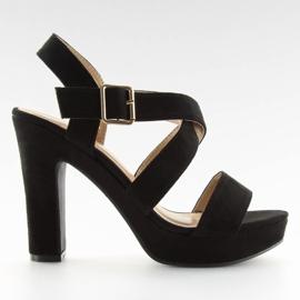 Sandałki na słupku czane BJ1602-SD black czarne