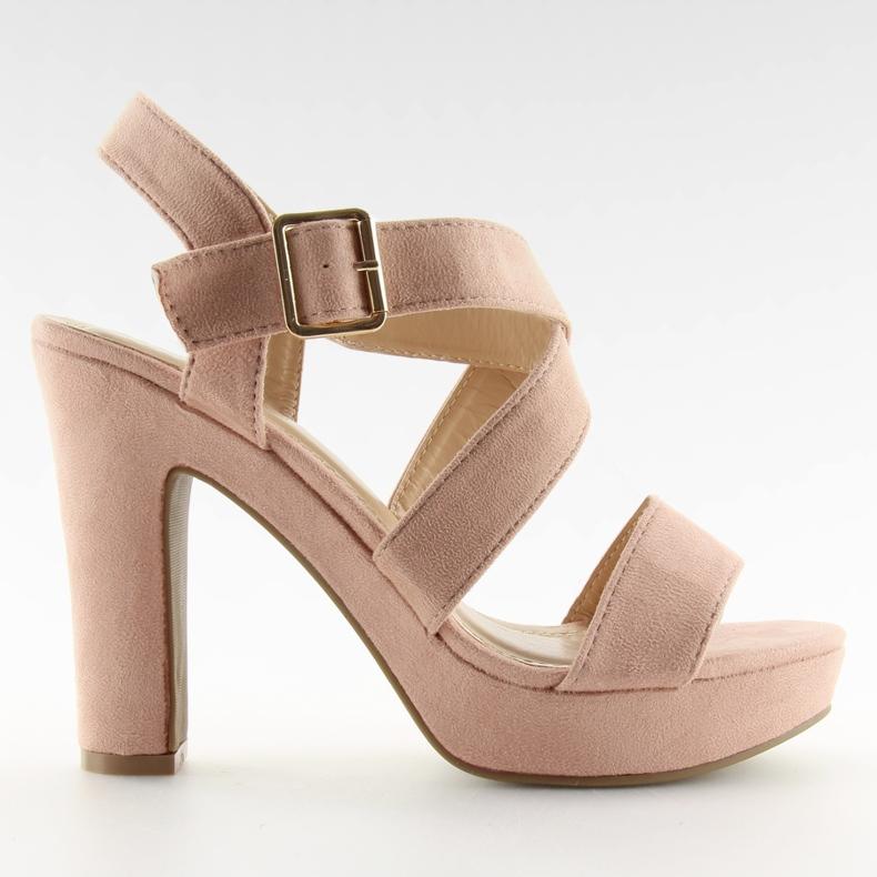 Sandałki na słupku różowe BJ1602-SD