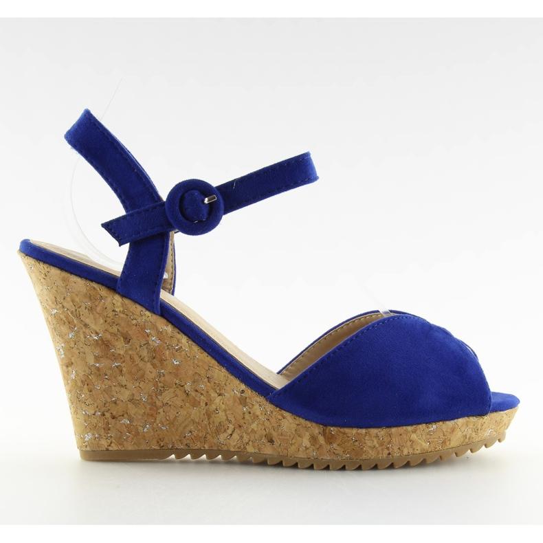 Sandałki na korkowym koturnie 3811-13 blue granatowe