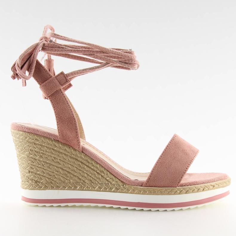 Sandałki na koturnie różowe JH630 pink