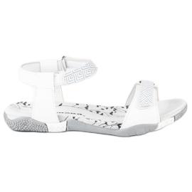 Hasby Płaskie sandały na rzep białe