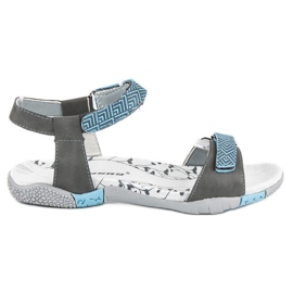 Hasby Płaskie sandały na rzep szare