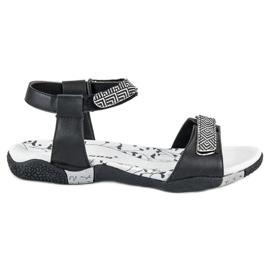 Hasby Płaskie Sandały Na Rzep czarne