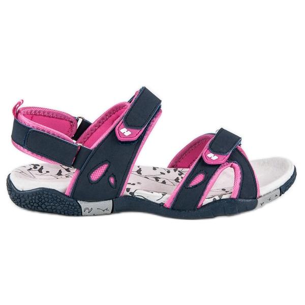 Hasby Damskie sandały na rzepy niebieskie