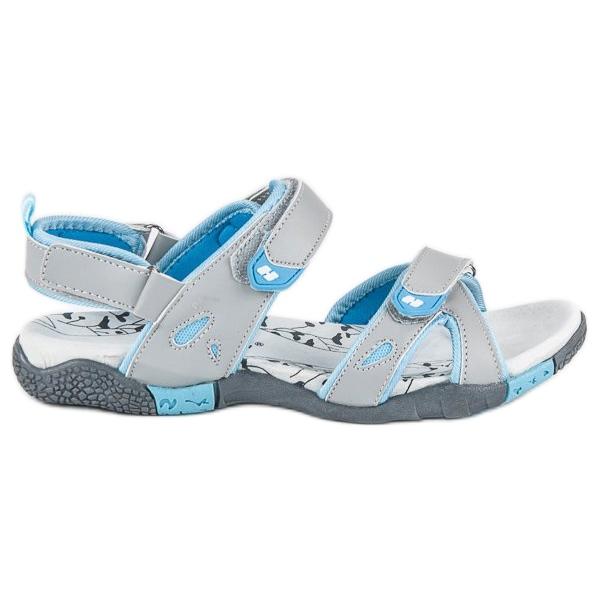 Hasby Damskie sandały na rzepy szare