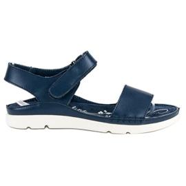 Filippo Granatowe Sandały Ze Skóry niebieskie
