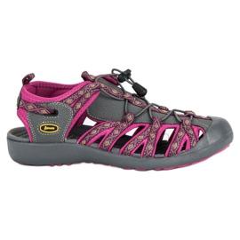 American Club Zabudowane sandały american fioletowe szare