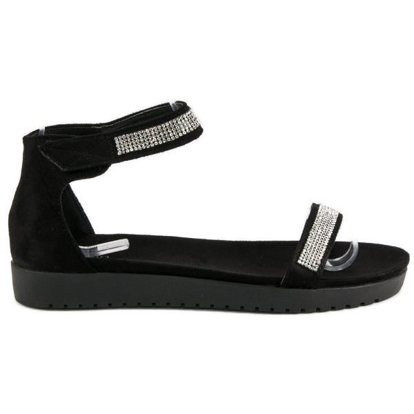 Evento Eleganckie sandały na rzep czarne