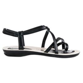 Wygodne sandały z gumką czarne