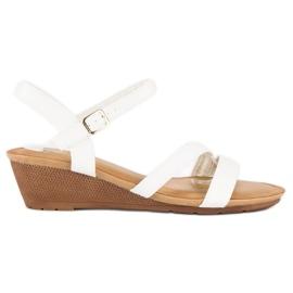 Bello Star Wygodne sandały na koturnie białe