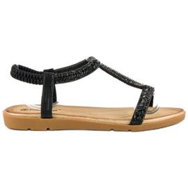 Fama Czarne sandały z gumką