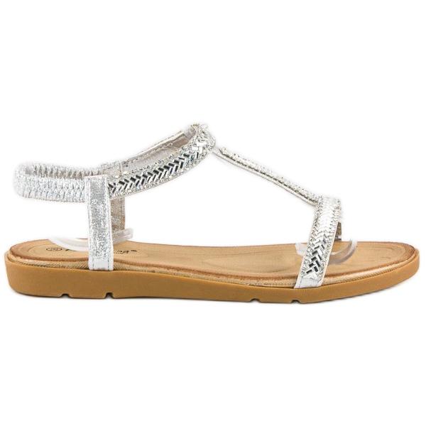 Fama Srebrne sandały z gumką szare