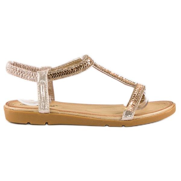 Fama Złote sandały z gumką złoty