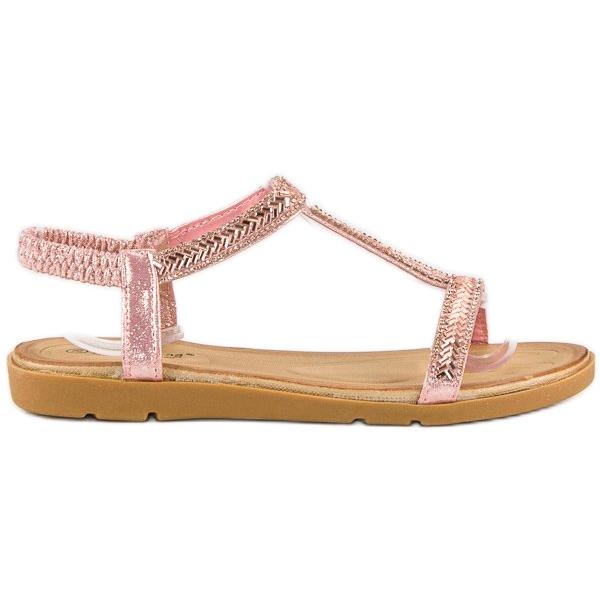 Fama Różowe sandały z gumką