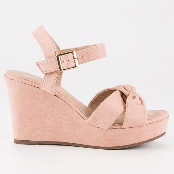 Bello Star Różowe sandały na koturnie