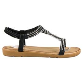 Fama Płaskie sandały z cyrkoniami czarne