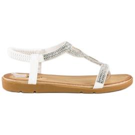 Fama Płaskie sandały z cyrkoniami białe