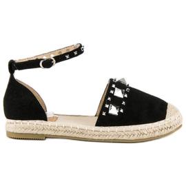 Płaskie sandały espadryle czarne
