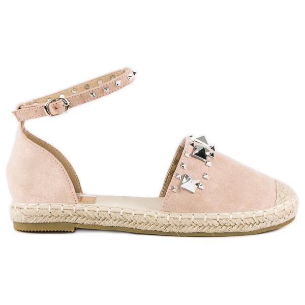 Płaskie sandały espadryle różowe