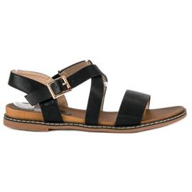 Bello Star Płaskie sandały na sprzączkę czarne
