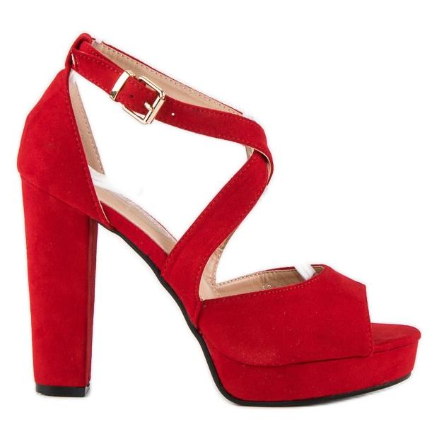 Sandały na wysokim słupku czerwone