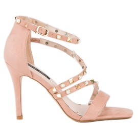 Bello Star Różowe sandałki na szpilce