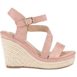 Bello Star Różowe sandały espadryle na koturnie