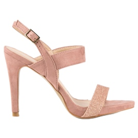 Sandałki na szpilce vinceza różowe