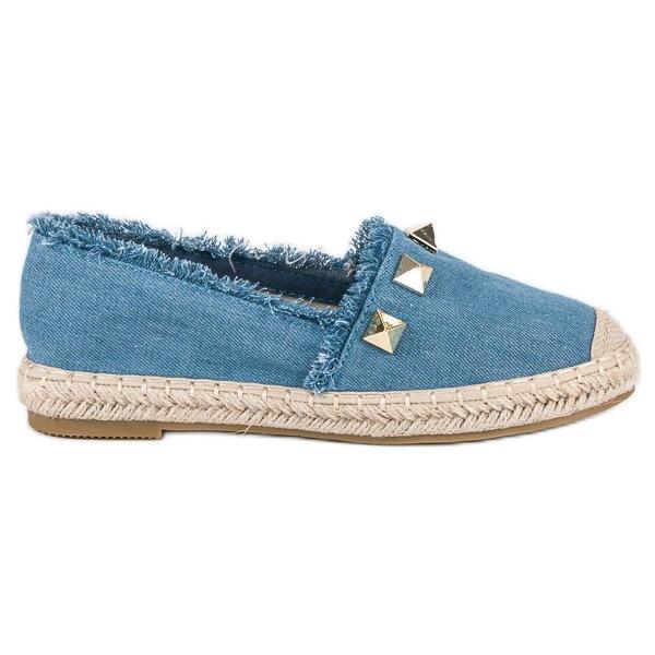 Bestelle Jeansowe espadryle z dżetami niebieskie