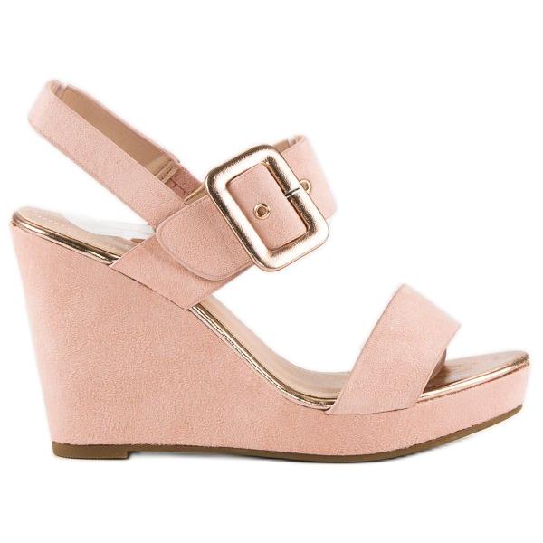 Bello Star Zamszowe sandały na koturnie różowe